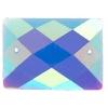 Glitter Sew-on Stone 10pcs Rectangle 18x25mm Blue Aurora Borealis